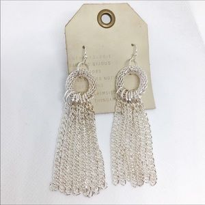 NWT Anthropologie Silver Tassels Earrings